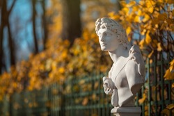 Beautiful antique sculpture in the autumn park. A beautiful old statue on a background of yellow autumn foliage. A sculptural portrait of a handsome man.