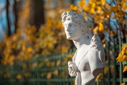 Beautiful antique statue in the autumn park. A copy of an ancient sculpture. Portrait of a handsome man.
