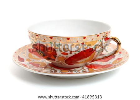 beautiful antique tea cup, isolated on white