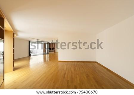 beautiful apartment, interior, empty room with windows - stock photo
