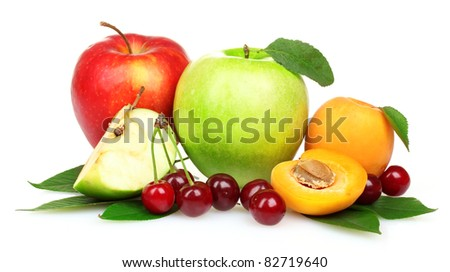 Beautiful apple, apricots and cherries isolated on white