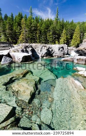 Beautiful aquamarine water flowing in MacDonald Creek at Glacier National Park in Montana.