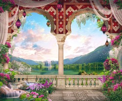 Beautiful Arab arch with flowers, lanterns, views of the mountain lake and stones. Digital collage, panel and fresco. Wallpaper. Poster design. Modular panel.