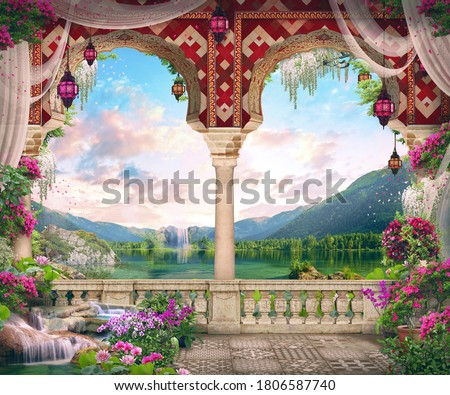 Beautiful Arab arch with flowers, lanterns, views of the mountain lake and stones. Digital collage, panel and fresco. Wallpaper. Poster design. Modular panel. Foto stock ©
