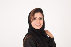 beautiful arab girl on white background