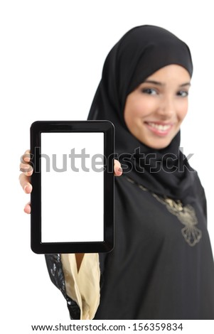 Beautiful arab woman showing a blank vertical tablet screen isolated isolated on a white background
