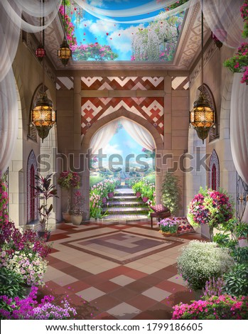 Beautiful Arabian arch with flowers, lanterns, desert views and tulips. Digital collage , mural and fresco. Wallpaper. Poster design. Modular panno.