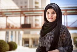 Beautiful Arabian Woman with hijab smiling