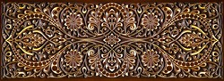 Beautiful Arabic patterns carved from wood on the door. Eastern architectural design.