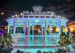 Beautiful arbor with Christmas lights decoration