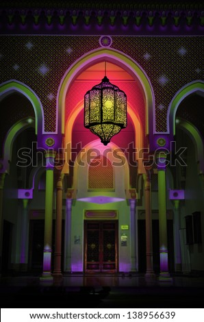 Beautiful arch of the mosque and arabic lantern