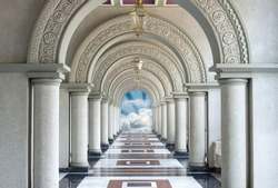 Beautiful Arched walkway with blue sky and cloud
