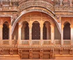 beautiful architectural details of a balcony of an Indian fort
