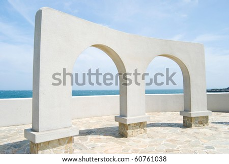 beautiful architecture, arch door decoration in the park near ocean