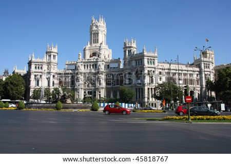 Beautiful architecture in Madrid. Plaza de Cibeles. Palace of Telecommunications - former post office serving as the city hall.