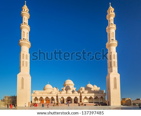 Beautiful architecture of Mosque in Hurghada, Egypt
