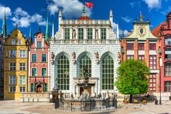 Beautiful architecture of the old town in Gdansk with Artus court, Poland