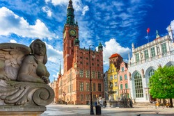 Beautiful architecture of the old town in Gdansk with city hall, Poland