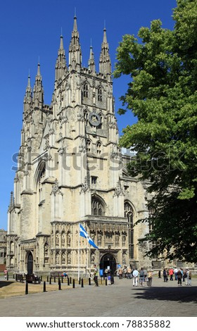 Beautiful architecture on the Canterbury Cathedral in England, UK