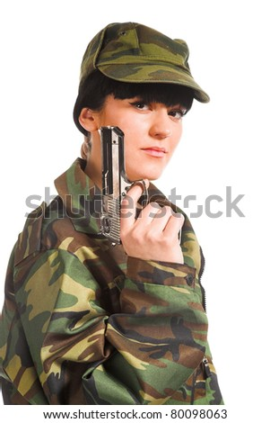 beautiful army girl holding gun isolated background