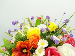 Beautiful artificial flower in shop. bouquet with an artificial flower