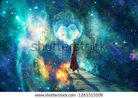 Beautiful artistic universe with standing woman. Colorful landscape with bright supernovas. Cyan beautiful galaxy artwork