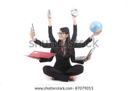 Beautiful asian business woman looking confident with six arms