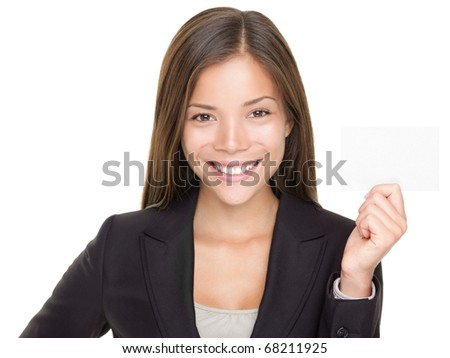 Beautiful Asian businesswoman showing business card. Young confident mixed race Asian / Caucasian woman showing sign with copy space isolated on white background.