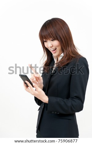 beautiful asian businesswoman using smart phone
