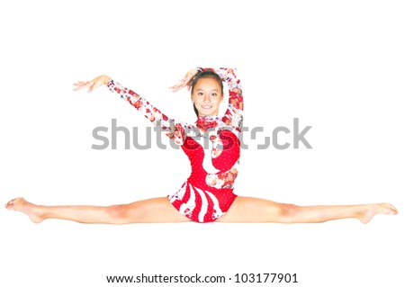 Beautiful Asian girl gymnast on white background