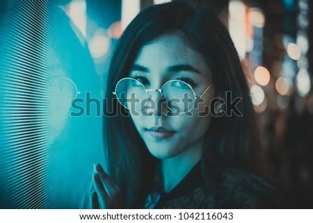 Stock Photo Beautiful asian japanese girl street portraits