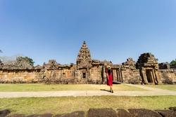 Beautiful Asian lady Castle stone tourism
