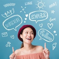 Beautiful asian woman blogger is showing hand pointing and smiling with freehand doodle text,bubble speech and decoration drawing graphic.Business online influencer on social media concept.