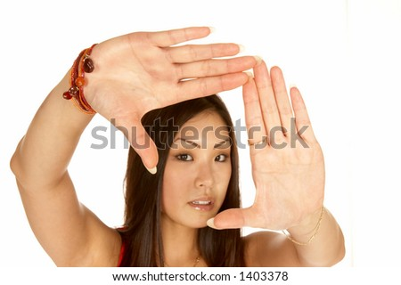 Beautiful Asian Woman Framing Scene with Her Hands