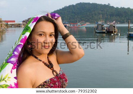 beautiful asian woman in ko chang island, thailand - stock photo
