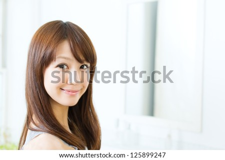 Beautiful asian woman in the bathroom