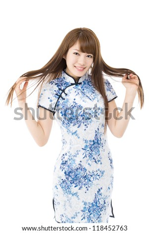 Beautiful asian woman in traditional chinese clothing on white background