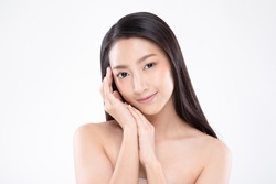 Beautiful Asian woman touching soft cheek smile with clean and fresh skin Happiness and cheerful with positive emotional,isolated on white background,Beauty Cosmetics and spa facial treatment Concept