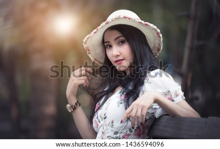 beautiful asian women girl portrait profile and smiling in the garden retro vintage picture style travel tourist concept