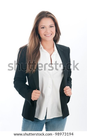 beautiful assistant with jeans in white