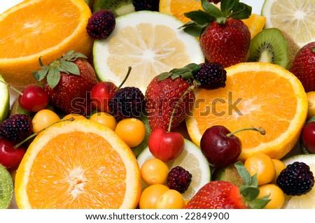 beautiful assorted fruit over a white background - Shutterstock ID 22849900