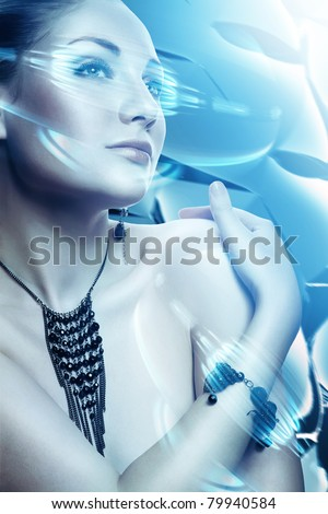 beautiful attractive woman with accessorize and virtual interface