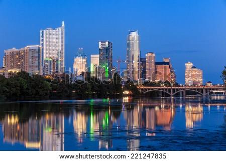 Beautiful Austin skyline reflection at twilight, Texas