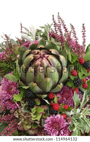 beautiful autumn chrysanthemum flowers bouquet with artichoke and berries