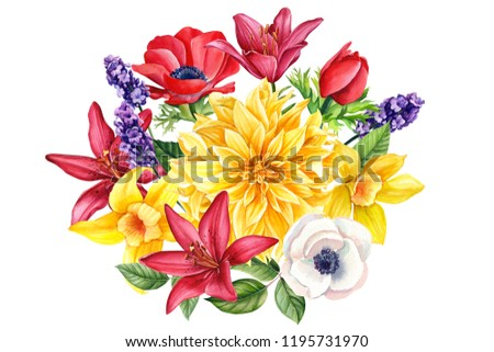 beautiful autumn flowers on an isolated white background, watercolor illustration, botanical painting, a bouquet of dahlias, anemones, lavender, vanilla, lilies, roses