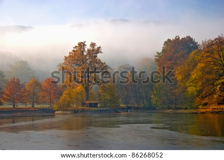 Beautiful autumn landscape with coloured trees and Isle of Fishermen's Bastion
