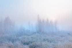 Beautiful autumn misty sunrise landscape. November foggy morning and hoary frost at scenic high grass meadow.