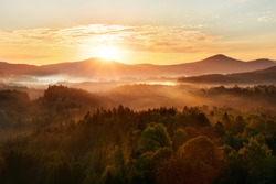 Beautiful autumn morning on the view point above the deep forest valley in national park Bohemian Switzerland.