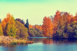 Beautiful autumn nature landscape.Sunny autumn scene with birch trees with orange and red leaves reflecting on water surface.Concept of beauty of autumn nature.