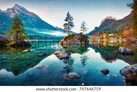 Beautiful autumn scene of Hintersee lake. Colorful morning view of Bavarian Alps on the Austrian border, Germany, Europe. Beauty of nature concept background. - Shutterstock ID 747646759